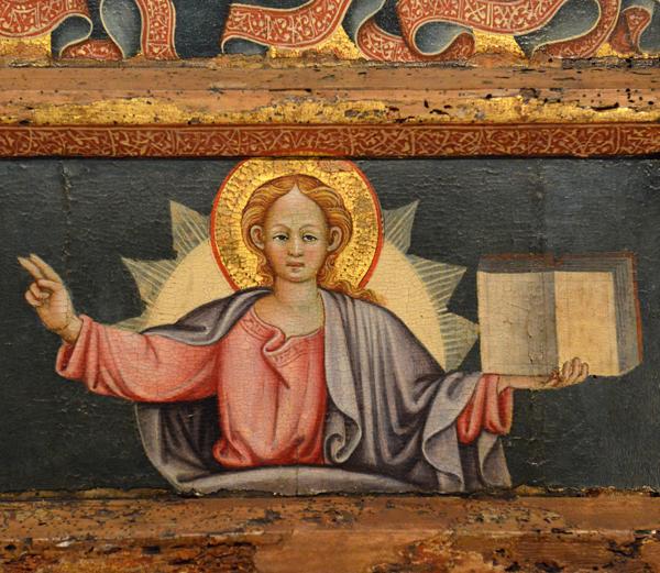 Le Christ tenant l'Evangile - Predelle d'un tableau d'un maître du XVe s., Pouilles italiennes